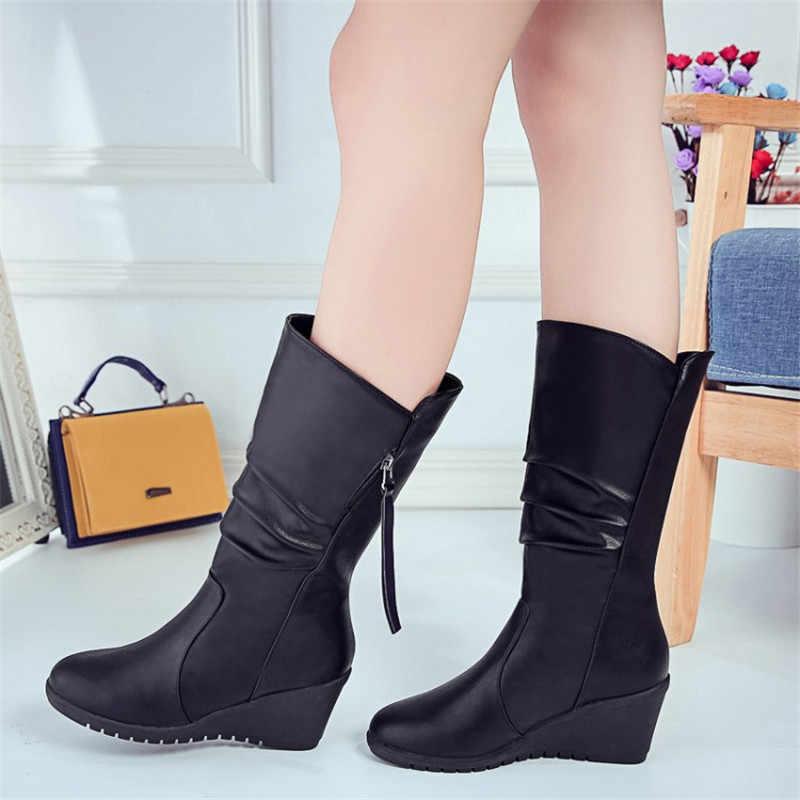 COOTELILI kadın kışlık botlar kadın deri motosiklet yüksek çizmeler takozlar platform ayakkabılar kadın rahat Botas Mujer yüksek topuklu