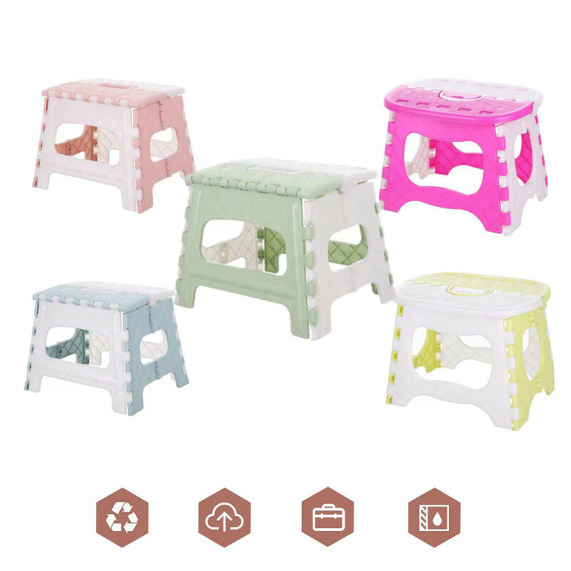 Plastic Multi Purpose Folding Step Stool Kids Holding Stool Camping Home Train Outdoor Foldable Outdoor Garden Bathroom Fishing