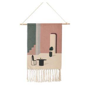 Image 4 - Geometrische Tapestry Hand Geknoopt Kwastje Bruiloft Gedrukt Muur Opknoping Decor Moslim Ornament Boho Home Decor Wandtapijten