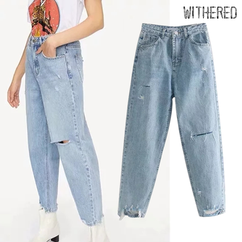 Withered 2019 England Simple Vintage Mom Jeans Woman Loose High Waist Jeans Cut Ripped Jeans For Women Boyfriend Jeans For Women