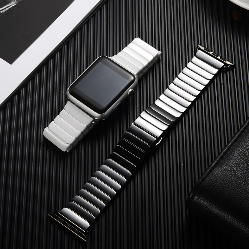 Image 5 - 세라믹 스트랩 애플 시계 밴드 44 mm 40mm iwatch 밴드 42mm 38mm 럭셔리 스테인레스 스틸 버클 팔찌 애플 시계 5 4 3 2 1워치 밴드시계 -