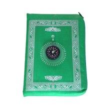 Alfombra de oración musulmana de poliéster, esterillas trenzadas portátiles, simplemente imprime con brújula en bolsa, esterilla de viaje, nuevo para el hogar
