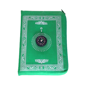 Image 1 - Muslim Prayer Rug Polyester Portable Braided Mats Simply Print With Compass In Pouch Travel Home New Style Mat Blanket