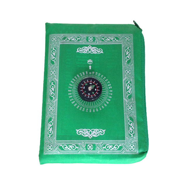 Muslim Prayer Rug Polyester Portable Braided Mats Simply Print With Compass In Pouch Travel Home New Style Mat Blanket