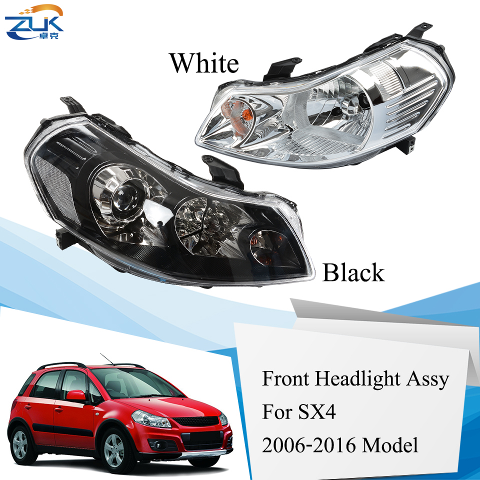 ZUK Left Right Front Bumper Headlight Headlamp For Suzuki SX4 2006-2016 Front Head Light Head Lamp White Type Black Type