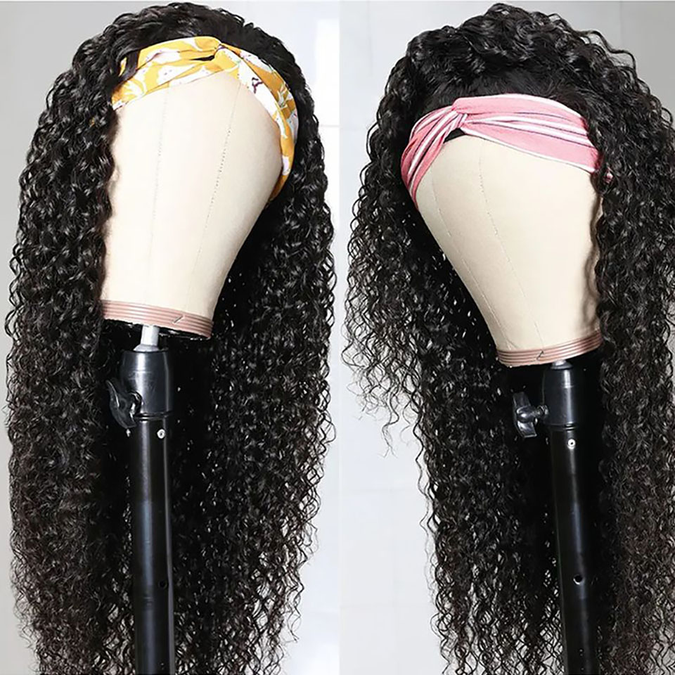 Bestsojoy Curly Headband Wig Kinky Curly 100% Human Hair Wigs For Black Women Remy Natural No Clace No Gule No Gel Headband Wigs