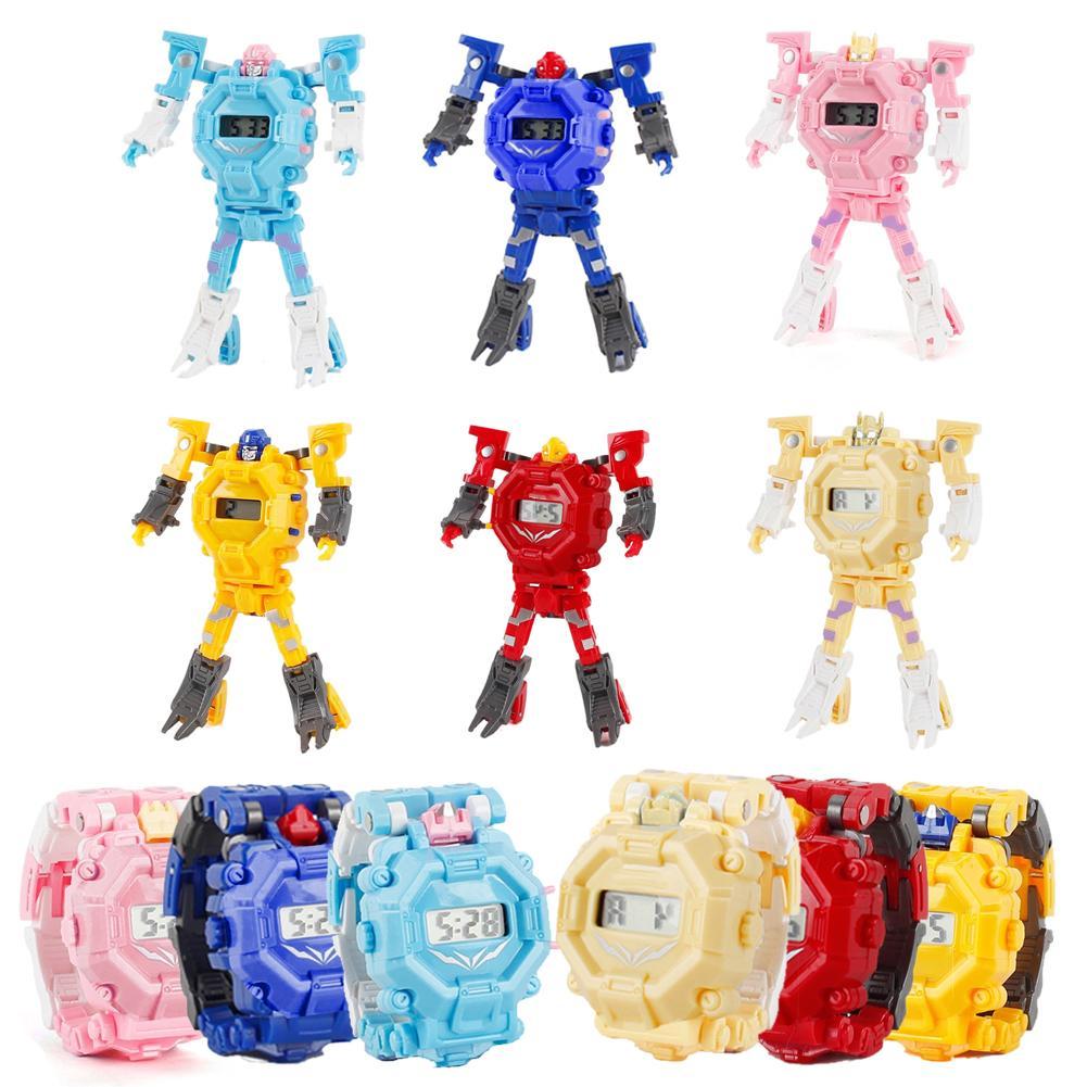 Kids Watch Toy Transformation Wristwatch Toy Mecha Robot Electronic Watch Children Sports Cartoon Watches Kids Xmas Gifts