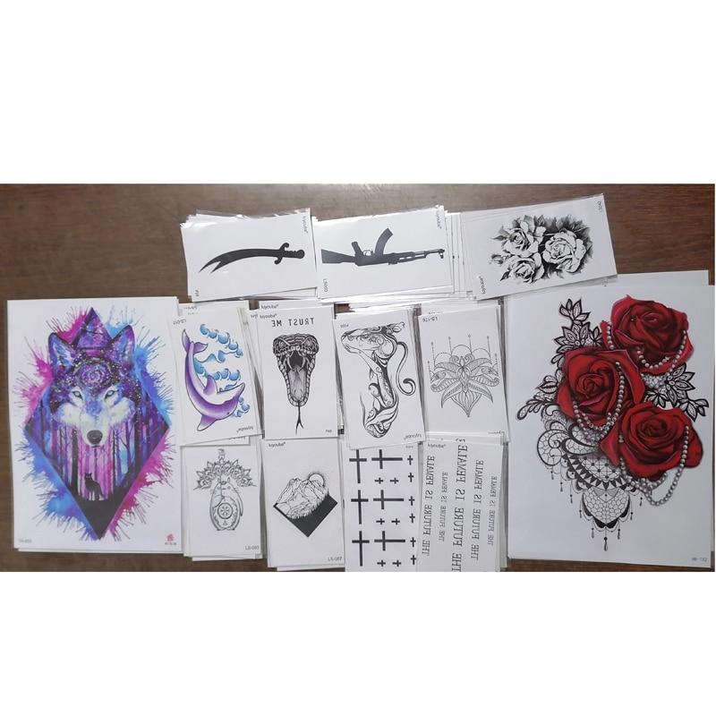 Rose /Wolf /Snake/Knife  Waterproof Temporary Tattoos Sticker Temporaire Tatouage Henna Tattoo Sleeve Tatoo Fake Tattoo Kids