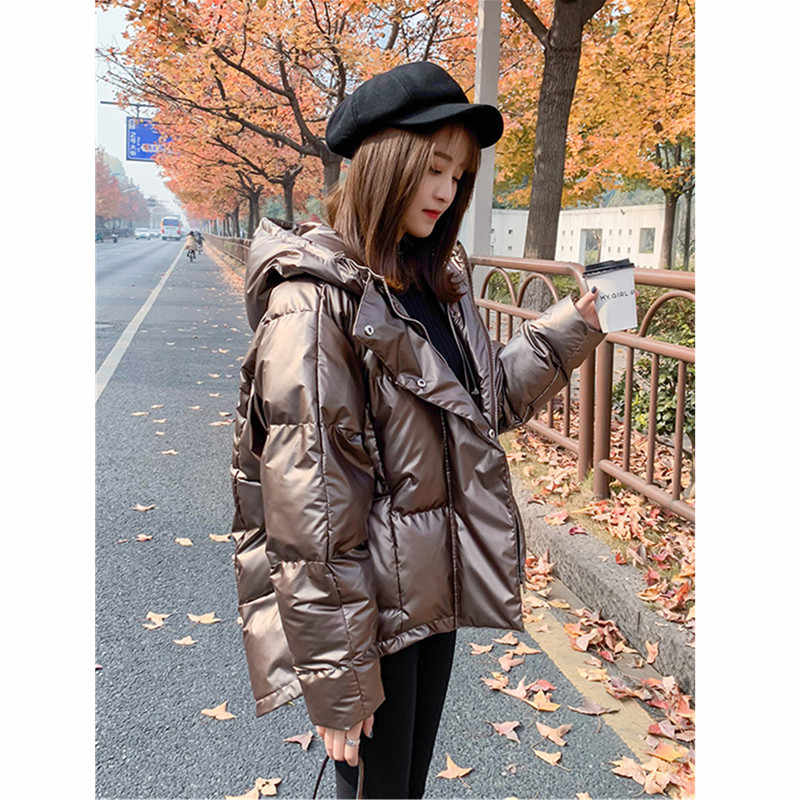 2019 Winter Oversize Down Jacket Parka Womens Glossy Hooded
