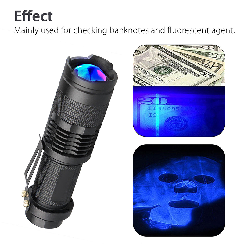 Led UV Flashlight Purple Blacklight For Money Cash Checker Detection Ultra Violet Flash Light Torch AA Battery Torch Lamp