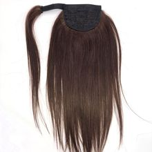 Hair-Extensions Human-Hair Ponytail-Color Straight Halo for African Lady -4 Wraped Beauty