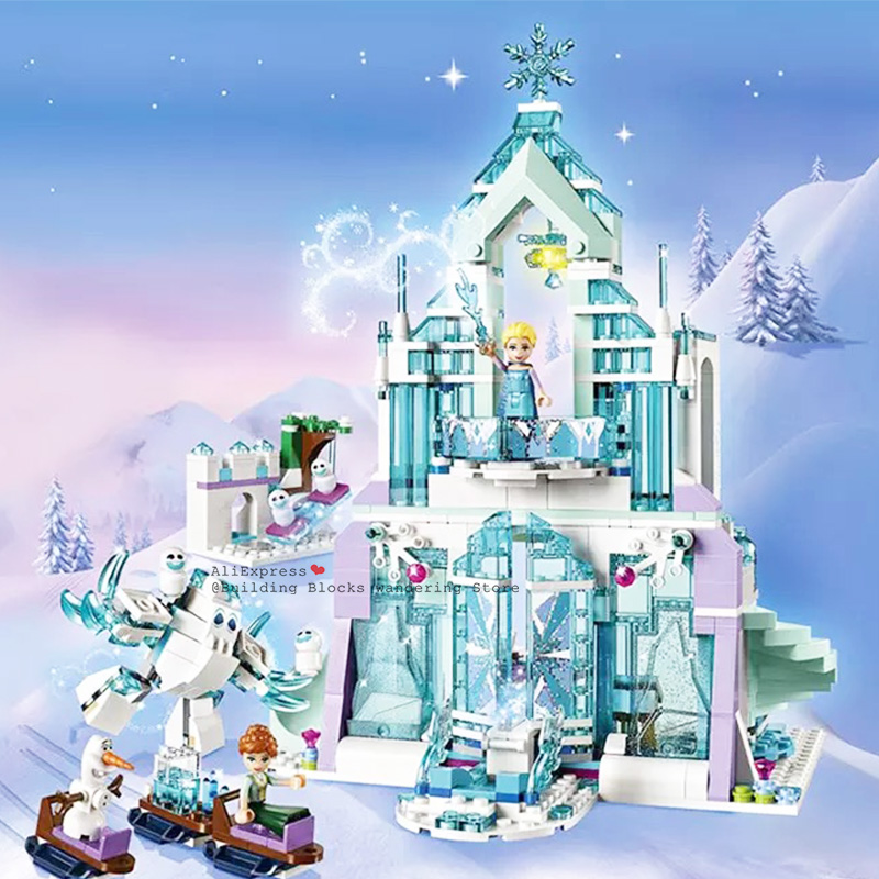 In Stock Legoinglys Friends 848pcs Snow Queen Anna Magical Ice Castle  Girls Building Blocks Bricks Toys