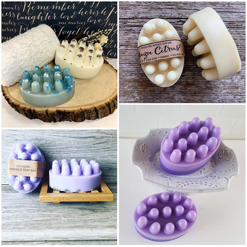 SJ 4 Cavity Silicone Soap Mold For Massage Therapy Bar Soap Making Tools DIY Homemade Oval Spa Soaps Mould Silicone Soap Form