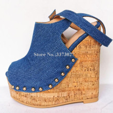 Platform Wedge Sandals Rivets Ankle-Strap Sexy New-Design Lady Real Denim Gladiator Jeans