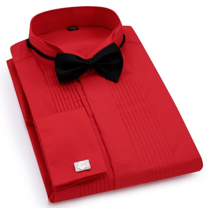 Image 4 - Men Wedding Tuxedo Long Sleeve Dress Shirts French cufflinks Swallowtail Fold Dark button design Gentleman shirt White Red BlackTuxedo Shirts   -