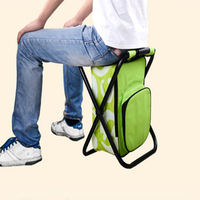 Folding stool portable ice bag stool with insulation bagback fishing stool beach chair outdoor refrigerator stool