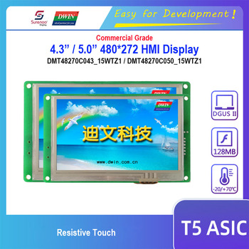 "Dwin T5 HMI Display, DMT48270C043_15WTZ1 DMT48270C050_15WTZ1 4.3"" 5.0"" RS232 RS485 480X272 LCD Module Resistive Touch Screen"