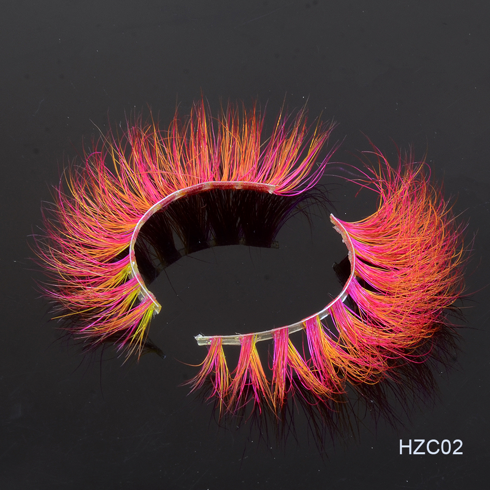 2020 New Colored 3D Luxury Mink Lashes Wholesale Natural Long Individual Thick Fluffy Colorful False Eyelashes With Free Box
