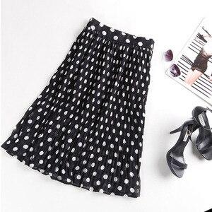 Image 3 - Женская плиссированная шифоновая юбка, пляжная юбка средней длины в горошек с эластичным поясом, 4XL, 5XL, лето 2019