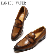 Mens Luxury Shoe Size 12 13 Formal Dress Genuine Leather Penny Slip-on Footwear Point Casual 2020 Summer for Male