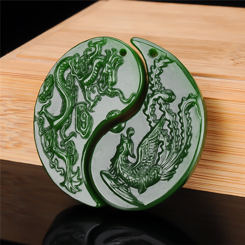 A Pair Chinese Green Jade Dragon Phoenix Pendant Necklace Jewellery Fashion Hand-Carved Relax Healing Man Women Luck Amulet