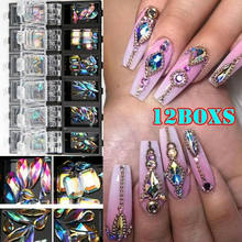 3D AB diamante gema brillo para uñas, diamantes de fantasía cristal 12 malla Nail Art Deco encanto(China)