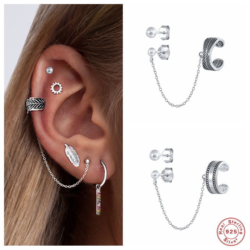 Aide 925 Sterling Silver Vintage Bohemia Ethnic Style Chain Ear Cuffs Mismatched Clip Earrings For Women Bijoux Brincos Jewelry