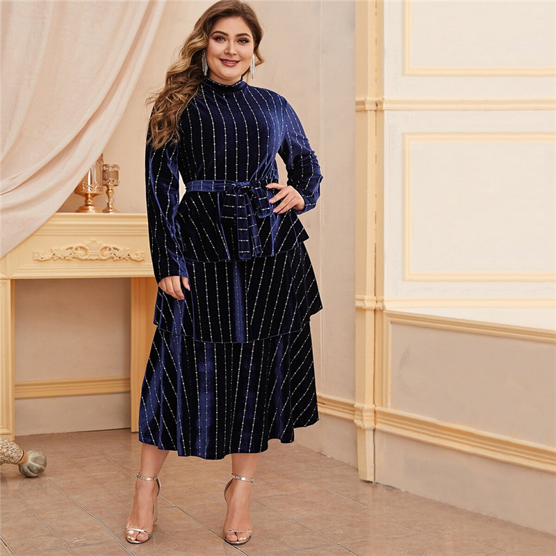 Plus Size Mock Neck Striped Velvet A-line Dress