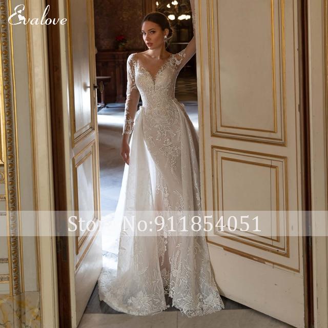 EVALOVE Glamorous Lace Appliques Detachable Train Mermaid Wedding Dress Luxury Scoop Neck Beaded Long Sleeve Trumpet Bridal Gown 3
