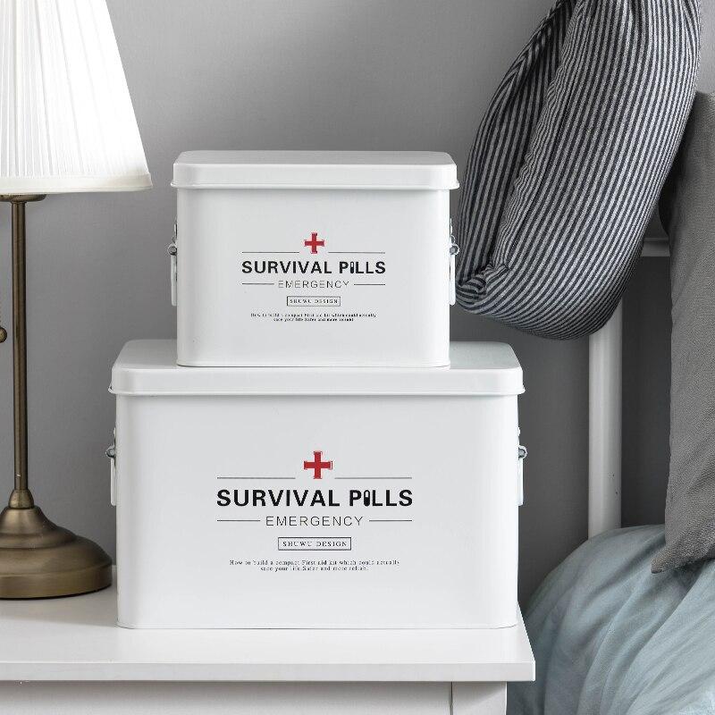 Caixa de armazenamento para medicamentos, caixa de metal para armazenamento de medicamentos domésticos, estilo nórdico, kit de primeiros socorros, minimalismo, organizador de artigos diversos, decoração