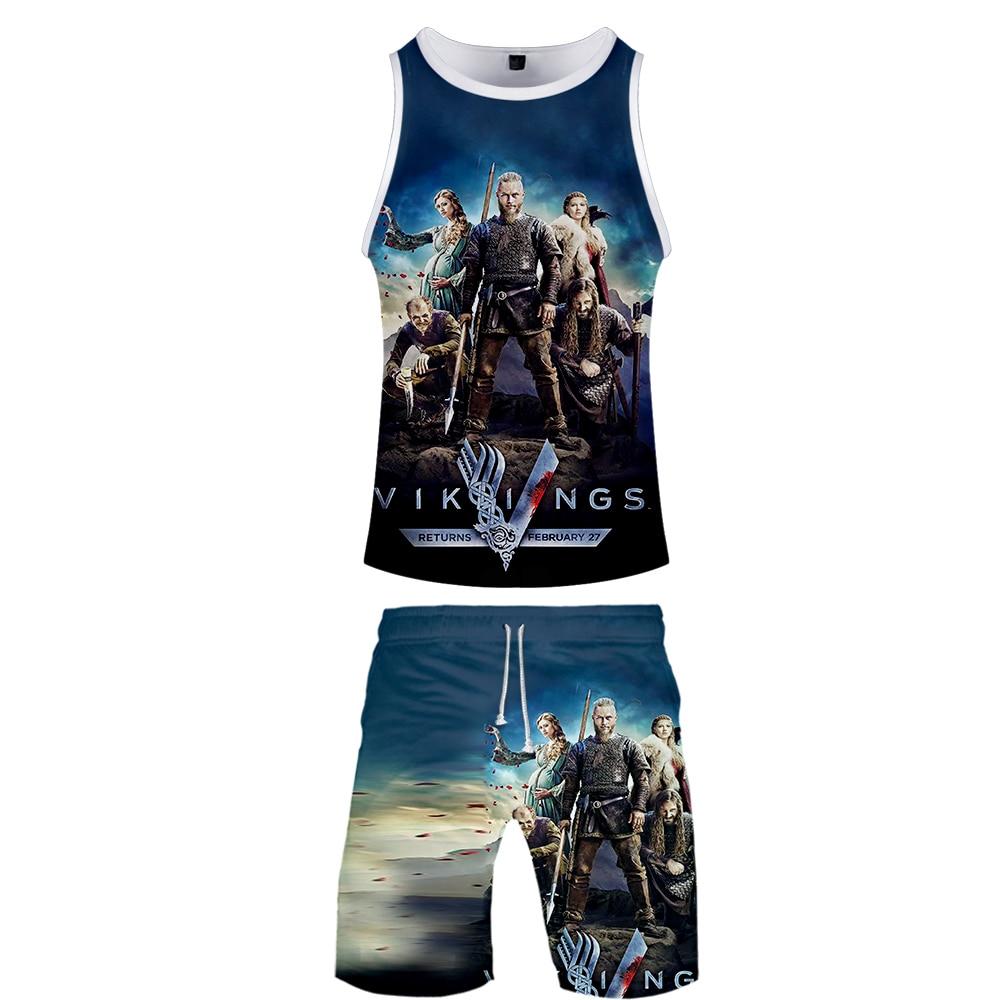 Vikings Tv Series Two Piece Set Men 3D Pattern Print Vikings 2 Piece Vest Set Jerseys Harajuku Summer Clothing Free Shipping