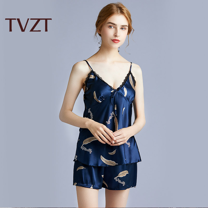Tvzt 2020 New Silk Pajamas For Women Floral Womens Pajama Set Pyjamas Women Satin Sleepwear V-Neck Pijama Mujer 2 Piece Sets