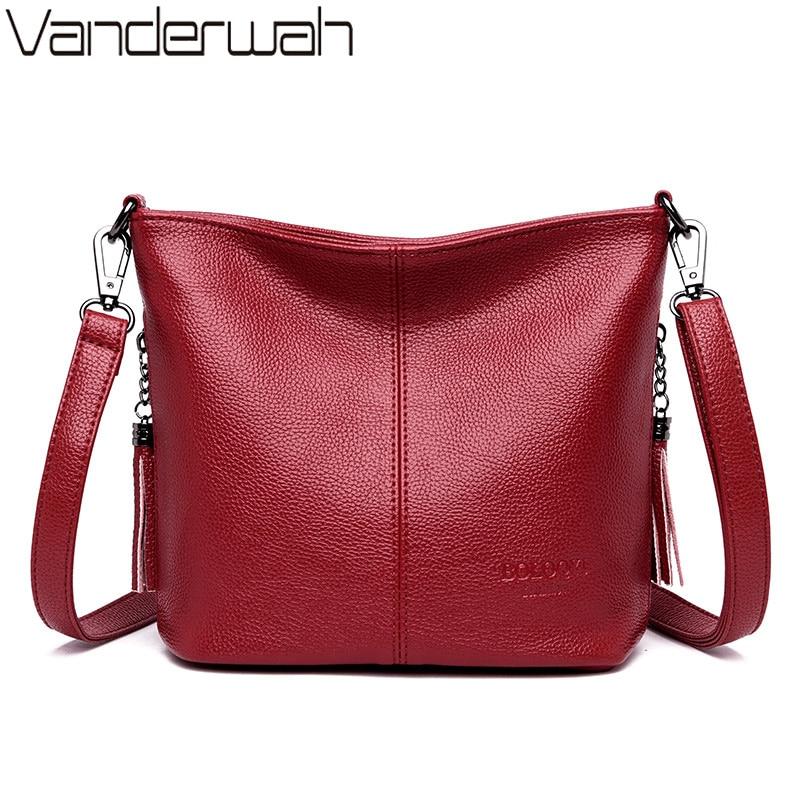 Ladies Hand Crossbody Bags For Women 2020 Luxury Purses And Handbags Women Leather Tassels Shoulder Bags Designer Bucket Sac|Shoulder Bags| - AliExpress