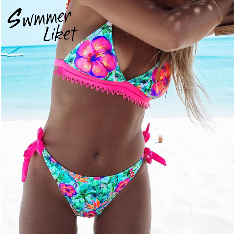 Floral Print Bikini Women High Cut Swimsuit 2020 Sexy Swimwear Female Bathers Bathing Suit Brazilian Beach Wear Biquini Mujer