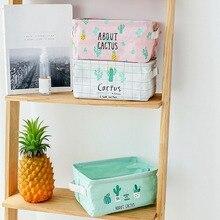 Portable Square Cotton Linen Storage Basket Folding Cactus Desktop Baskets Household Sundries