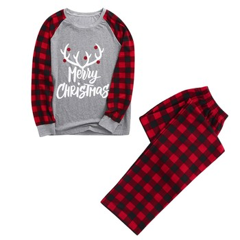 2020 new Hot Christmas Women Mom Letter Plaid Print Top Blouse+Pants Family Clothes Pajamas family matching clothes Navidad