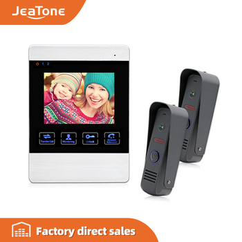 JeaTone 4 inch TFT Wired Video Door Phone Intercom Doorbell Home Security Camera System Picture Memory& Video Recording function 7 tft lcd wired video intercom door phone doorbell 1200tvl security camera intercom system support security cctv camera f1411d