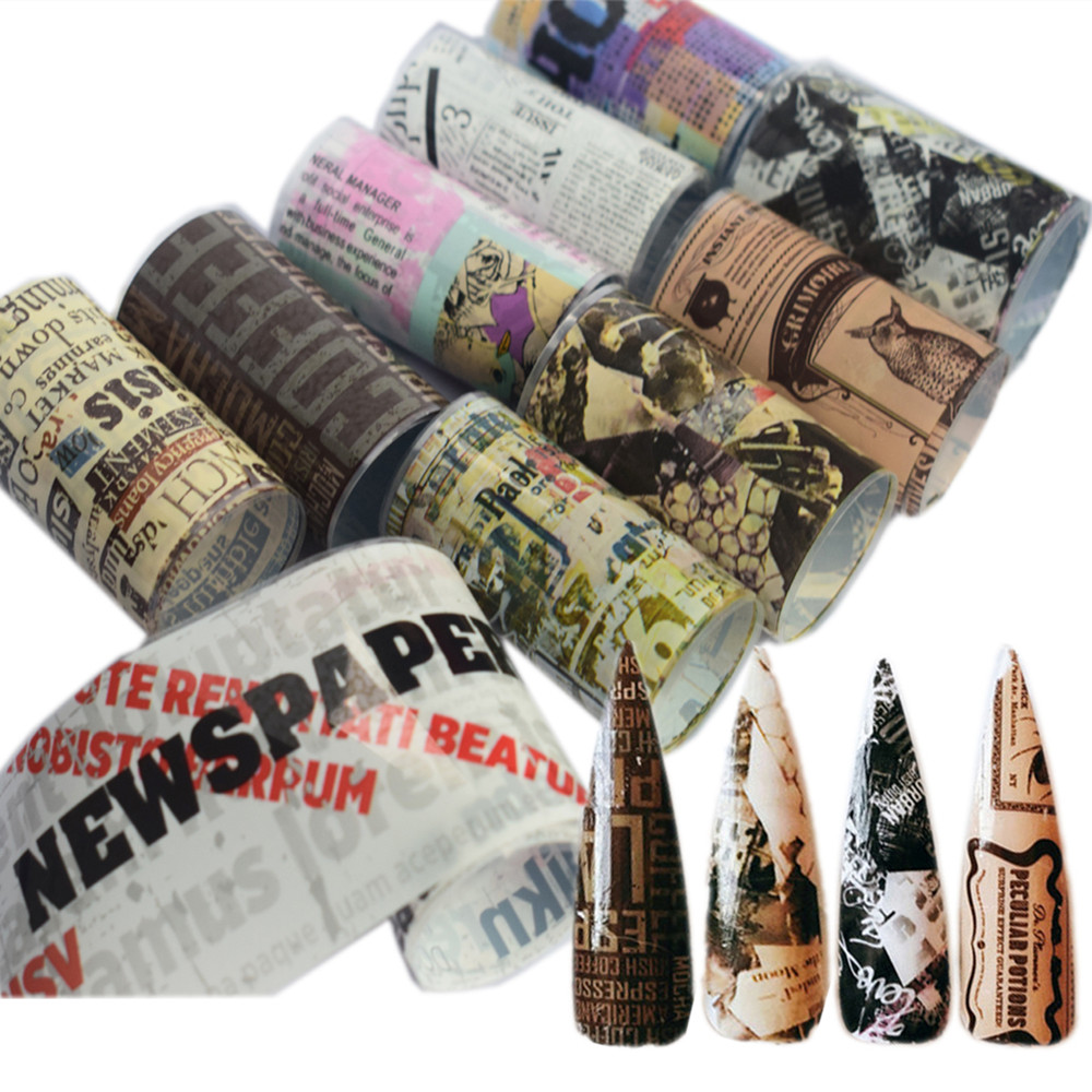8/10/16Pcs Nail Foil Transfer Set Decal For Nails Sticker 4*100cm Flower Newspaper News Mixed Nail Art Decoration Adhesive Wraps