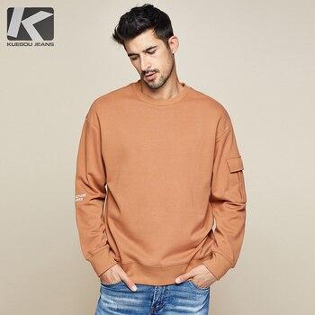 KUEGOU 2019 Autumn 100% Cotton Letter Embroidery Sweatshirts Men Fashion Japanese Streetwear Hip Hop Male Brand Clothes Top 1758