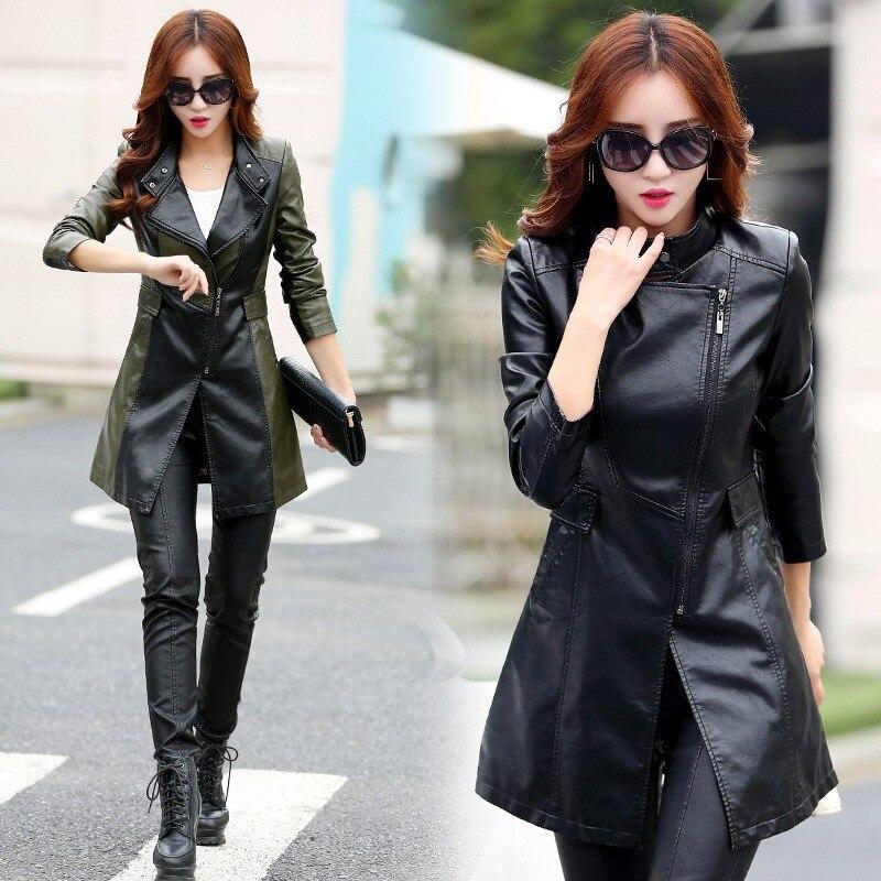 Leather   jacket women autumn and winter new slim slimming pu   leather   jacket women's long section wild female   leather   coat