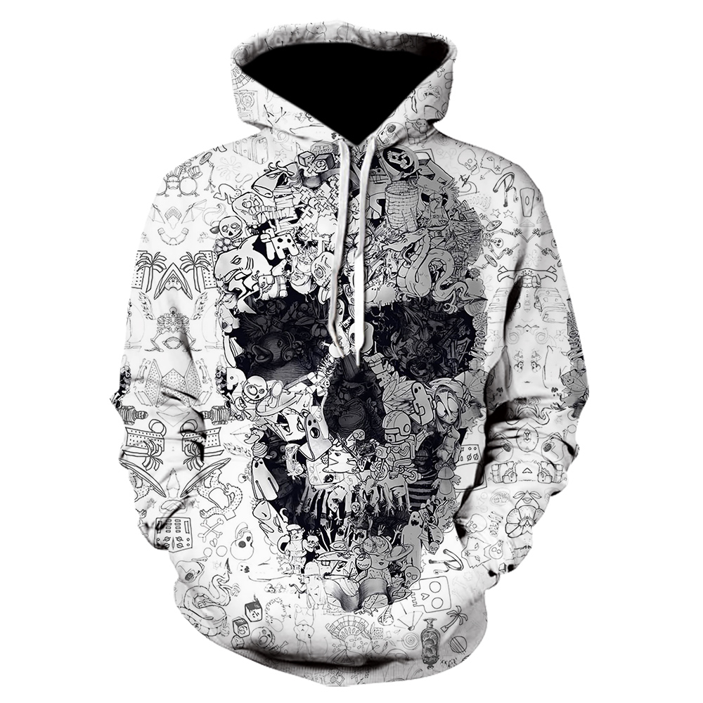 White Hoodies 3D Skull Sweatshirts Men Hoody Male Coat Autumn Tracksuit Quality Harajuku Hoodies 2019 Pullover Hip Hop Dropship