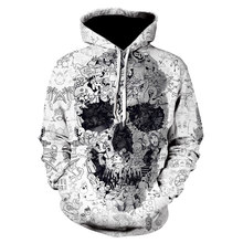 White Hoodies 3D Skull Sweatshirts Men Hoody Male Coat Autumn Tracksuit Quality harajuku Hoodies 2019 Pullover Hip Hop Dropship(China)