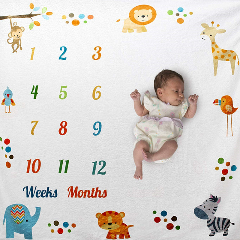 Baby Photography Props Infant Milestone Background Blanket Newborn Monthly Growth Milestone Blanket Cloth Commemorate Rug