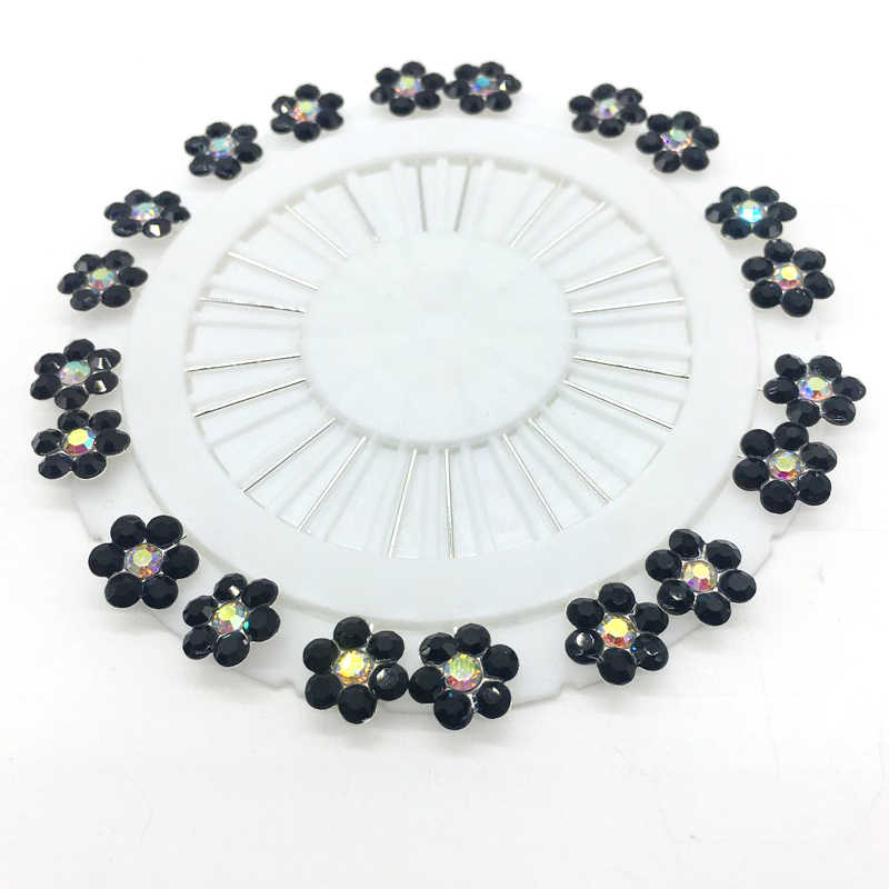Baru Hitam Putih Jilbab Pin 20PCS Bunga Kristal Muslim Jilbab Bros untuk Wanita Safety Abaya Khimar Pin