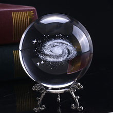 6cm Crystal Ball Clear Home Decoration Desktop Sphere 3D With Base Craft Planets Model Photo Props Engraved Solar System Gift(China)