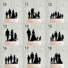 Индивидуальный семейный торт Топпер, персонализированные силуэт свадебный торт Топпер, Жених невесты с детьми, Mr & Mrs юбилей вечерние украше...