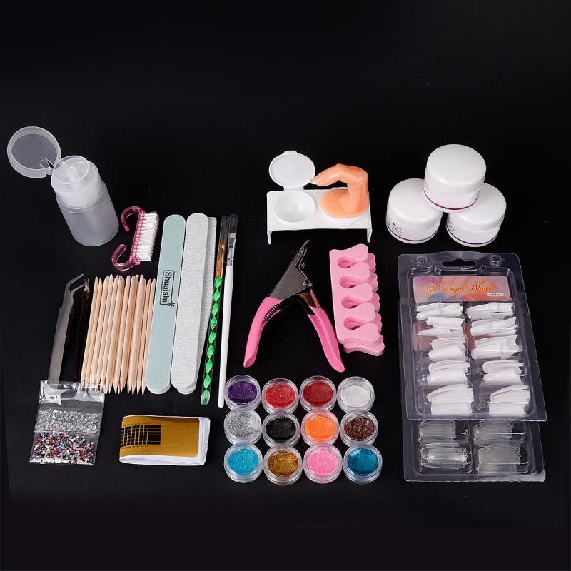 Nail Art Kit Manicure Set Nail Glitter Powder Decoration Acrylic Pen Brush Nail Art Tool Kit For Beginners Nail Art Tools