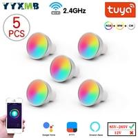 Foco LED inteligente GU10, lámpara de casa inteligente Tuya, WiFi, 5W, Control remoto por voz, RGB + CW + WW, luz regulable