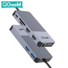 QGeeM USB Hub 3.0 Docking Station Triple Display Dual HDMI VGA USB Adapter Splitter for Xiaomi Laptops USB C Hub PC Accessories