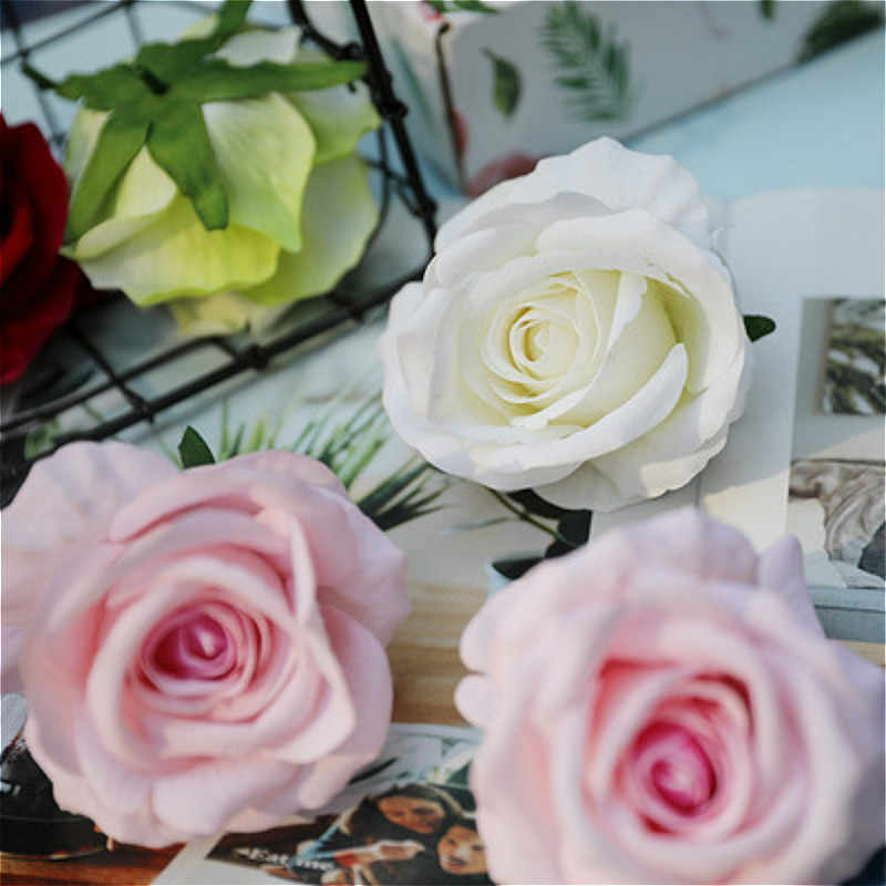 BRIDAY 1PCS New artificial flower silk rose flower head wedding party home decoration wreath scrapbook gift box craft@1